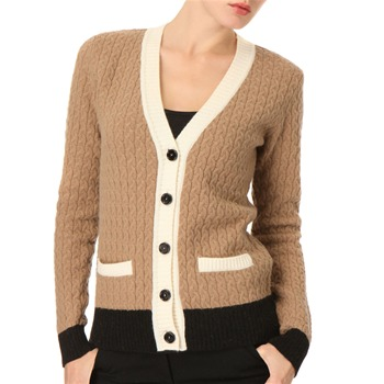 See by Chloé Cream Cable Knit Wool Blend Cardigan