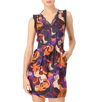 See by Chloé Navy Printed Silk-Twill Dress
