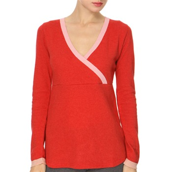 Avoca Anthology Red/Pink V-Neck Angora/Cashmere Blend Jumper