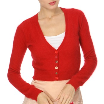 Avoca Anthology Poppy Cropped Angora Blend Cardigan