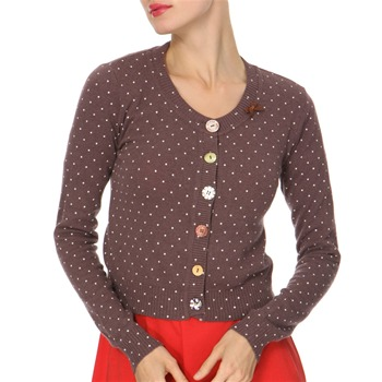 Avoca Anthology Purple Polka Dot Angora/Cashmere Blend Cardigan