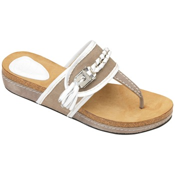 Scholl White/Taupe Lakeba Tassel Suede Mules