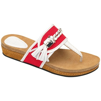 Scholl White/Coral Lakeba Tassel Suede Mules