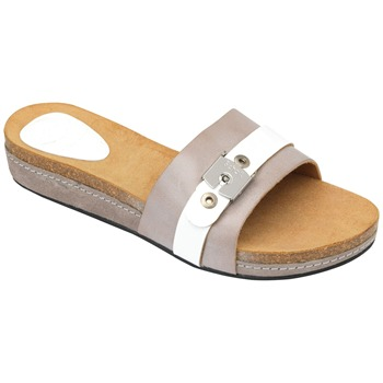 Scholl Taupe/White Faial Wax Leather Mules