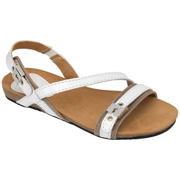 Scholl White/Taupe Ronde Leather Sandals