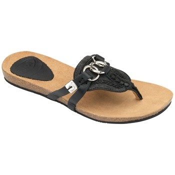 Scholl Black/Silver Martinique Leather Mules