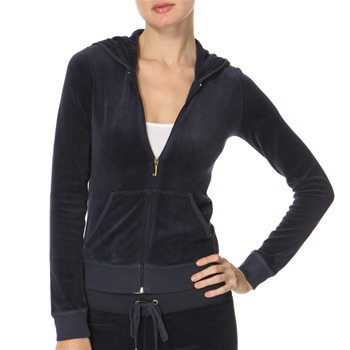 Juicy Couture Navy Heart Diamante Velour Hooded Top