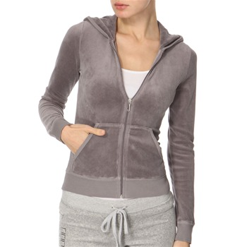Juicy Couture Grey Heart Diamante Velour Hooded Top
