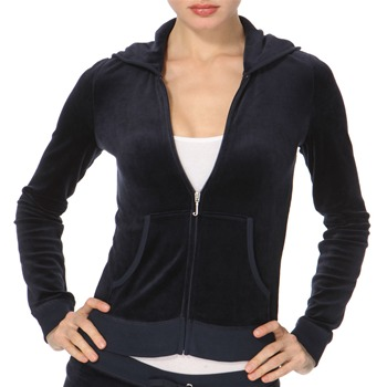 Juicy Couture Navy Diamante Logo Velour Hooded Top