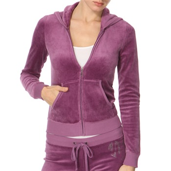Juicy Couture Aubergine Diamante Logo Velour Hooded Top