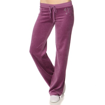 Juicy Couture Aubergine Diamante Logo Velour Orginal Tracksuit Pants 34