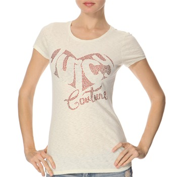 Juicy Couture Cream Diamante Logo Jersey Top