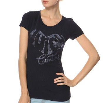 Juicy Couture Navy Diamante Logo Jersey Top