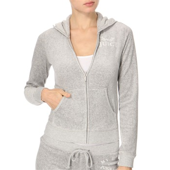 Juicy Couture Grey Marl 'My Heart' Velour Hooded Top
