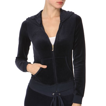 Juicy Couture Navy Sequin Back Velour Hooded Top