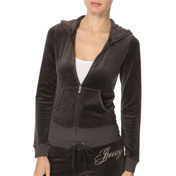 Juicy Couture Slate 'Couture Life' Velour Hooded Top