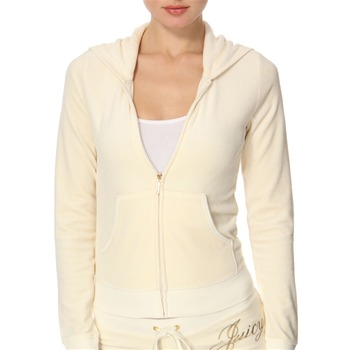 Juicy Couture Cream 'Couture Life' Velour Hooded Top
