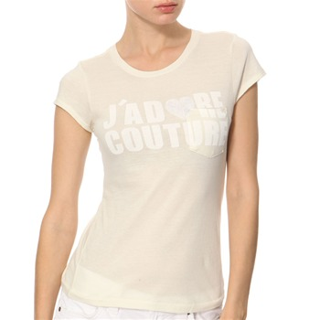 Juicy Couture Cream/White Printed Jersey Top