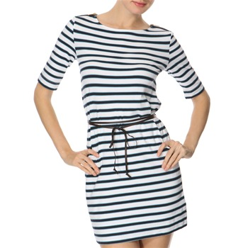 Juicy Couture White/Navy Striped Jersey Dress