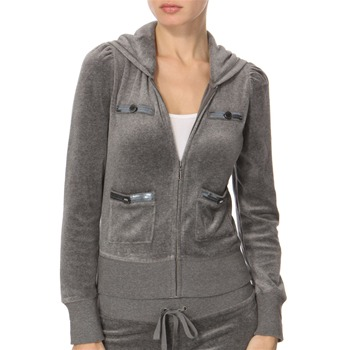 Juicy Couture Grey Puff Sleeve Sequin Velour Hooded Top