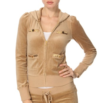 Juicy Couture Camel Sequin Pocket Velour Hooded Top