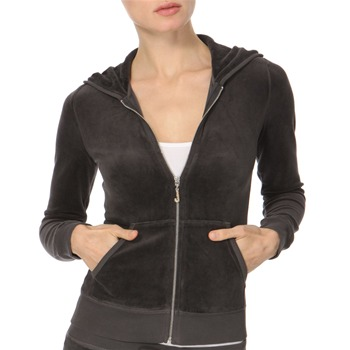 Juicy Couture Storm Grey Diamante Zip Hooded Top