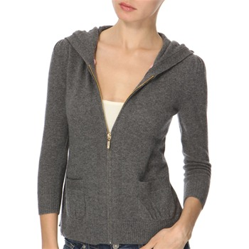 Juicy Couture Grey Tie Back Cashmere Blend Hooded Top