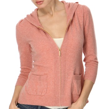 Juicy Couture Pink Tie Back Cashmere Blend Hooded Top