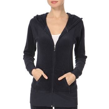 Juicy Couture Navy Longline Velour Hooded Top