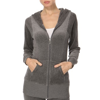 Juicy Couture Grey Longline Velour Hooded Top