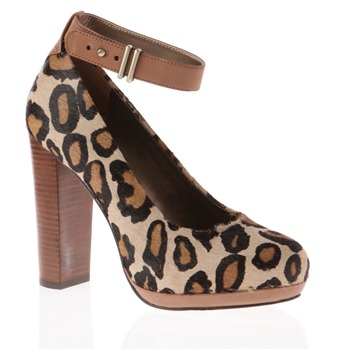 Sam Edelman Cream Layla Leopard Print Shoes 11cm Heel