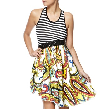 Miss Sixty Black/Multi Boogie Mixed Panel Dress