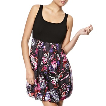Miss Sixty Black Valli Butterfly Bubble Hem Dress