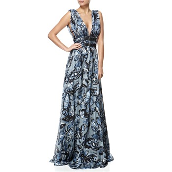 Miss Sixty Blue Churry Butterfly Silk Maxi Dress