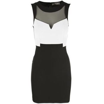 Core Spirit Black/White Semi Sheer Bodycon Dress