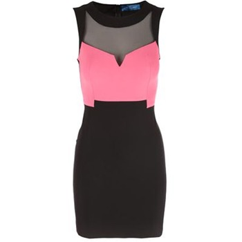Core Spirit Black/Fuchsia Semi Sheer Bodycon Dress