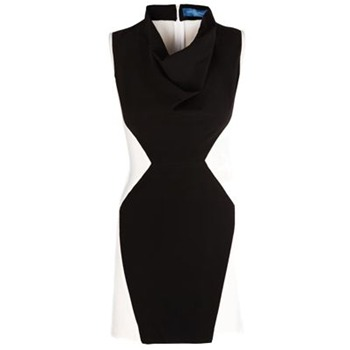 Core Spirit Black/White Panel Bodycon Dress
