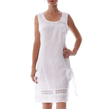 100% lin White Applique Linen Shift Dress