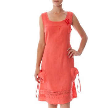 100% lin Coral Applique Linen Shift Dress