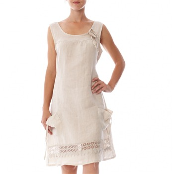 100% lin Beige Applique Linen Shift Dress