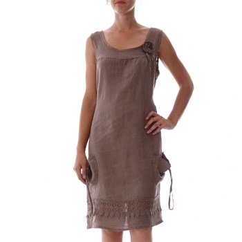 100% lin Taupe Applique Linen Shift Dress