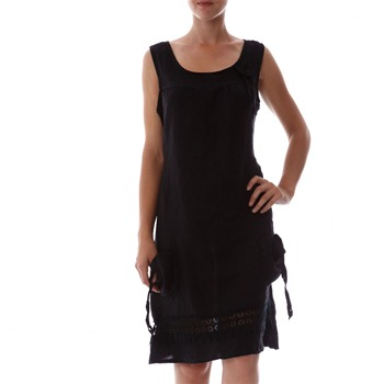 100% lin Black Applique Linen Shift Dress