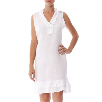 100% lin White Embroidered Linen Shift Dress