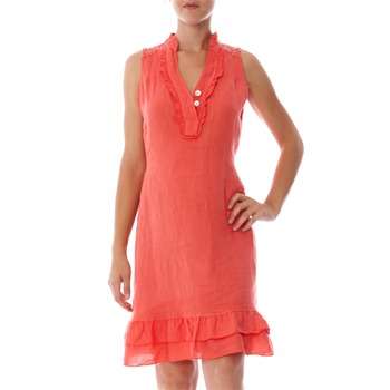 100% lin Coral Embroidered Linen Shift Dress