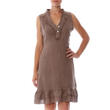 100% lin Taupe Embroidered Linen Shift Dress