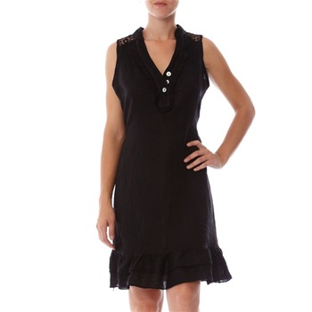 100% lin Black Embroidered Linen Shift Dress