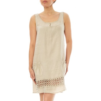 100% lin Beige Crochet Trim Linen Shift Dress