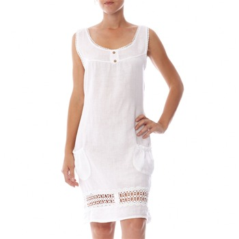 100% lin White Crochet Trim Linen Shift Dress