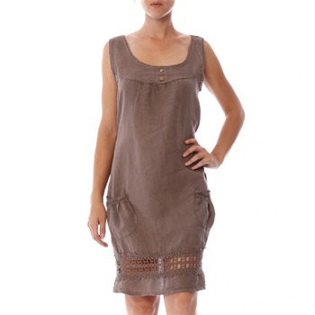 100% lin Taupe Crochet Trim Linen Shift Dress