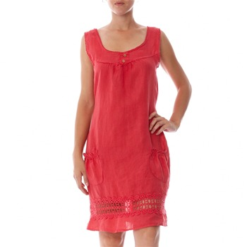 100% lin Coral Crochet Trim Linen Shift Dress
